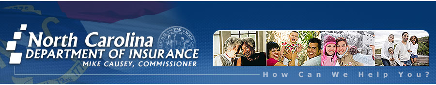 NC Department of Insurance Banner with NC Department of Insurance Logo, State Seal and Photos of typical insurance consumers